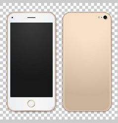 gold mobile phone template with empty vector image
