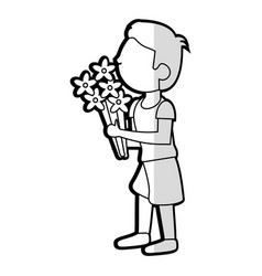 Cartoon son boy bouquet flowers vector