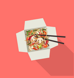 Chinese noodles in box vector