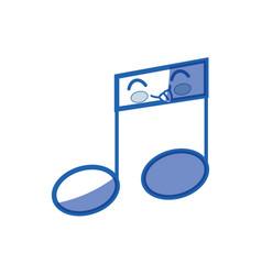 kawaii musical note icon vector image