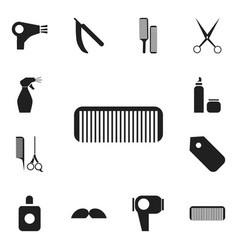 Set of 12 editable tonsorial artist icons vector