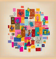 Doodle collage cartoon characters design elements vector