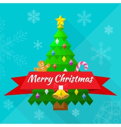 Merry christmas greeting card with tree and vector