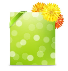 Yellow gerber and blank gift tag vector