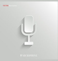 Microphone icon - white app button vector