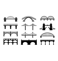 Bridges silhouettes icons vector