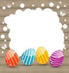Holiday card with easter colorful eggs on wooden vector