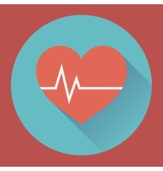 Heart rhythm and cardiogram medical flat icon vector
