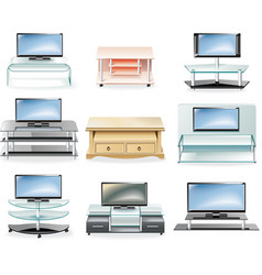 Furniture icon set tv stands vector