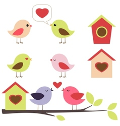 Birds in love set vector