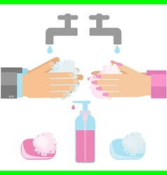 wash hands vector image