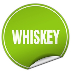 Whiskey round green sticker isolated on white vector