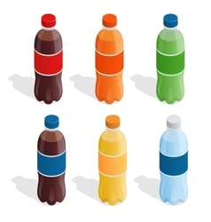 Drinks in bottles summer drinks flat 3d vector