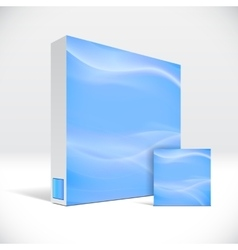 3d identity box with abstract sky blue lines cover vector