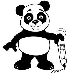 Cartoon panda bear holding a pencil vector image vector image