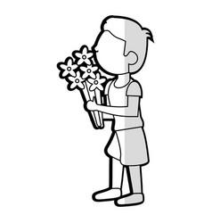 cartoon son boy bouquet flowers vector image