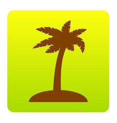 Coconut palm tree sign brown icon at vector