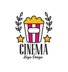 colorful abstract cinema or movie logo template vector image vector image