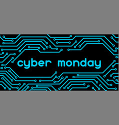 Cyber monday sale banner online shopping and vector