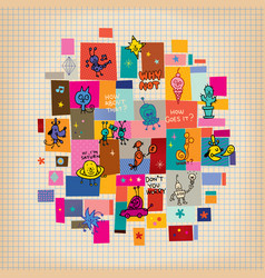 doodle collage cartoon characters design elements vector image