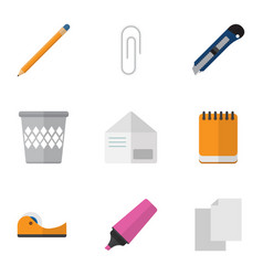 Flat icon stationery set of notepaper sheets vector