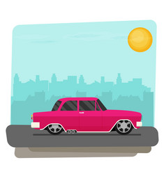 Flat old car vector