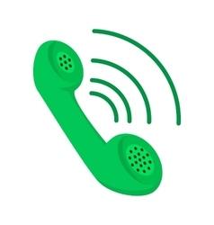Green telephone receiver cartoon icon vector image vector image