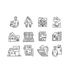 Line icons real estate sale and rent signs vector