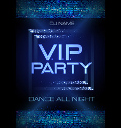 neon sign vip party disco poster vector image