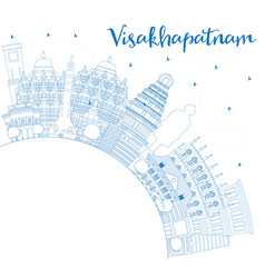 outline visakhapatnam skyline with blue buildings vector image