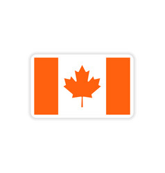 Paper sticker canadian flag on white background vector