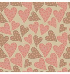 Polka dots hearts seamless pattern vector