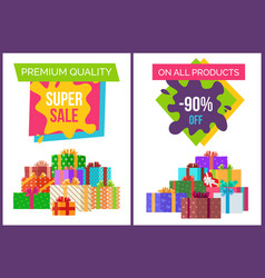 premium quality super sale offer set of posters vector image vector image