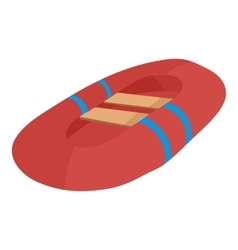 Red inflatable boat icon cartoon style vector