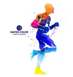 Running man watercolor vector