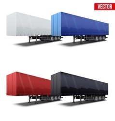 Set of blue parked semi trailer vector image vector image