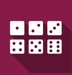 Set of six dices flat icon with long shadow vector