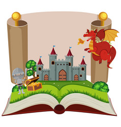 Storybook with knight and castle vector