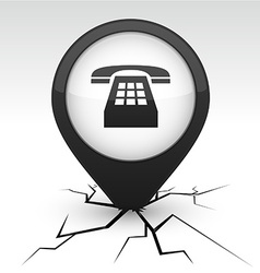 Telephone black icon in crack vector