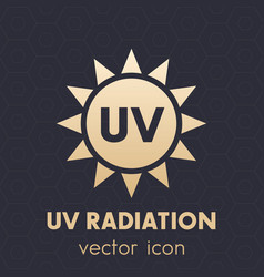 Uv radiation icon symbol on dark vector