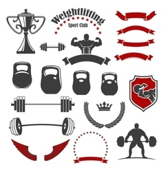 Weightlifting sport club isolated icons for emblem vector image vector image