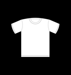 White t-shirt template isolated clothing on black vector