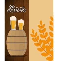 Wooden barrel beer glass and wheats leaf vector
