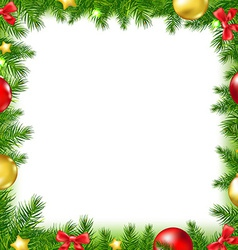Xmas Fir Tree Frame With Red Ribbon And Stars vector image