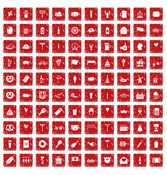 100 beer party icons set grunge red vector