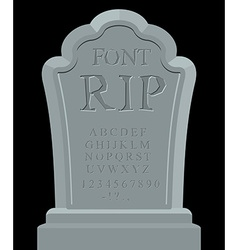 Rip font ancient carved on tombstone of abc tomb vector