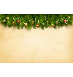 Decorated christmas tree branches on a old paper vector