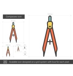 Compasses line icon vector