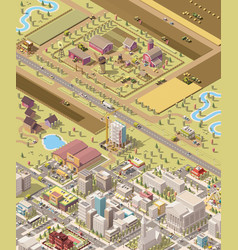 isometric low poly farm and city vector image