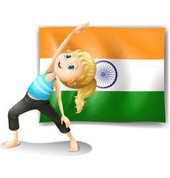 A girl exercising in front of the flag of india vector